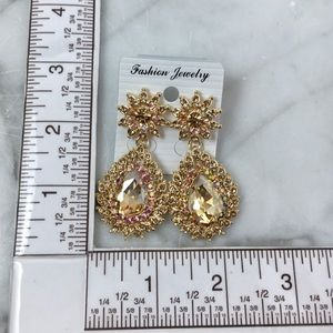 Cherryl's Jewelry - Champagne Crystal Chandelier Event Earrings